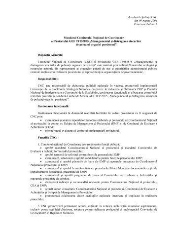 Aprobat la Şedinţa CNC din 09 martie 2006 Proces-verbal nr. 1 ...