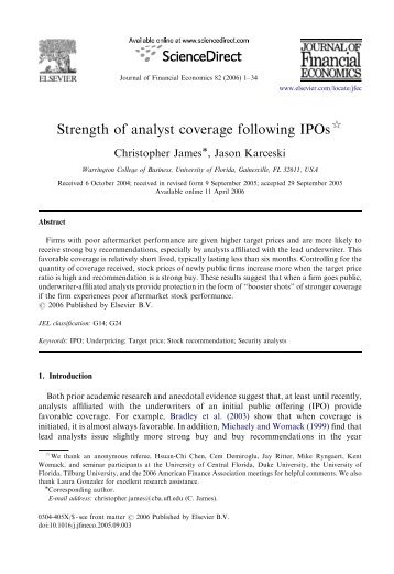 Strength of analyst coverage following IPOs