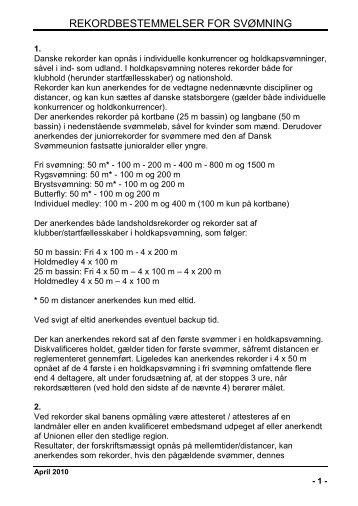 REKORDBESTEMMELSER FOR SVØMNING - Dansk Svømmeunion