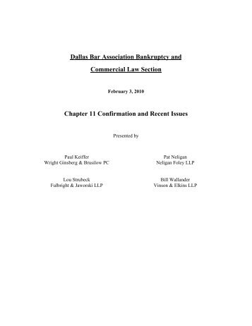Chapter 11 Confirmation and Recent Issues - Vinson & Elkins LLP