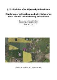 § 19 tilladelse efter Miljøbeskyttelsesloven Etablering af gyllekøling ...