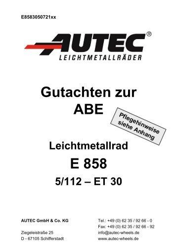 Gutachten zur ABE E 858 - AUTEC GmbH & Co. KG