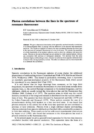 Photon correlations between the lines in the ... - Theoretical Optics