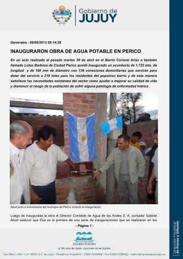 INAUGURARON OBRA DE AGUA POTABLE EN PERICO