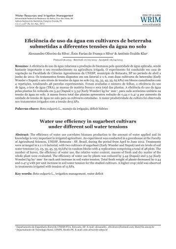 Eficiência de uso da água em cultivares de beterraba ... - UFRB