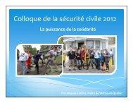 La puissance de la solidarité - Ministère de la Sécurité publique