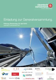 Einladung zur Generalversammlung. - Cleantech Fribourg