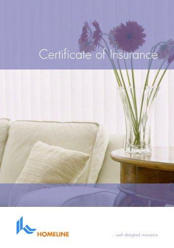 Homeline Certificate of Insurance - Adrian Flux