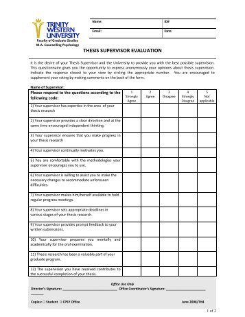 Evaluation matrix for masters thesis