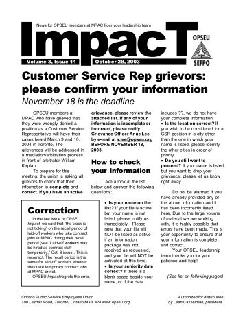 Customer Service Rep grievors: please confirm your ... - OPSEU