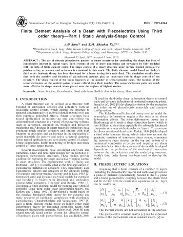 Finite Element Analysis of a Beam with Piezoelectrics Using Third ...