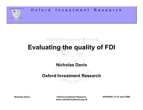 Oxford Investment Research is - unido