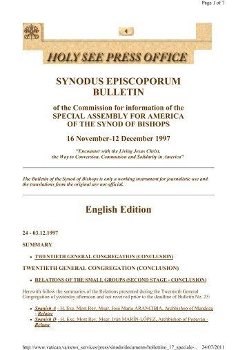 SYNODUS EPISCOPORUM BULLETIN English Edition - Laikos