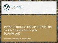 Tunkillia/Tarcoola Gold Projects - SA Explorers