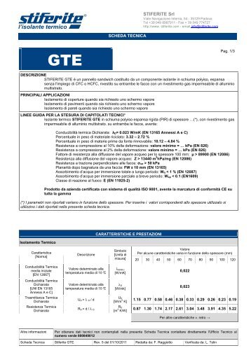 Scheda tecnica Stiferite GTE - Bindifortedeimarmi.com