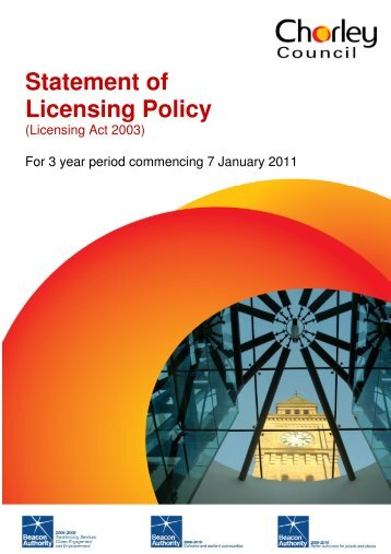 Statement of Licensing Policy - Chorley Borough Council