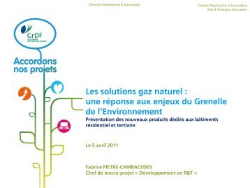 Les solutions gaz naturel - GrDF