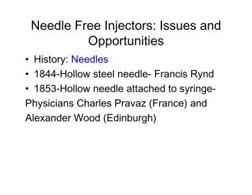 Needle Free Injectors: Issues and Opportunities - SaskPork