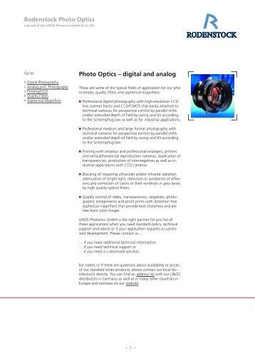 Rodenstock Photo Optics Photo Optics – digital and analog