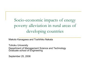 Socio-economic impacts of energy poverty alleviation in rural areas ...