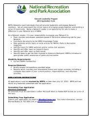 Network Leadership Program 2013 Application Form - National ...