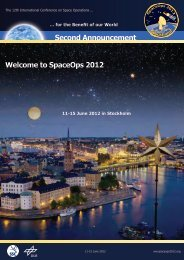 Second Announcement Welcome to SpaceOps 2012 - uppsagd