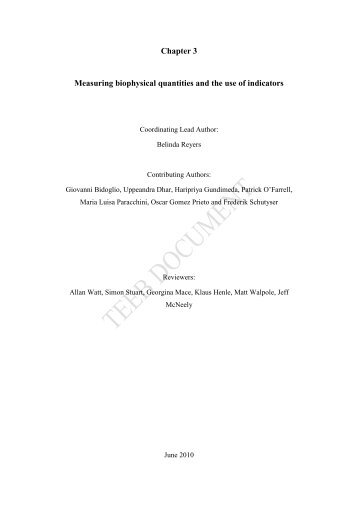 Chapter 3 Measuring biophysical quantities and the use of ... - TEEB