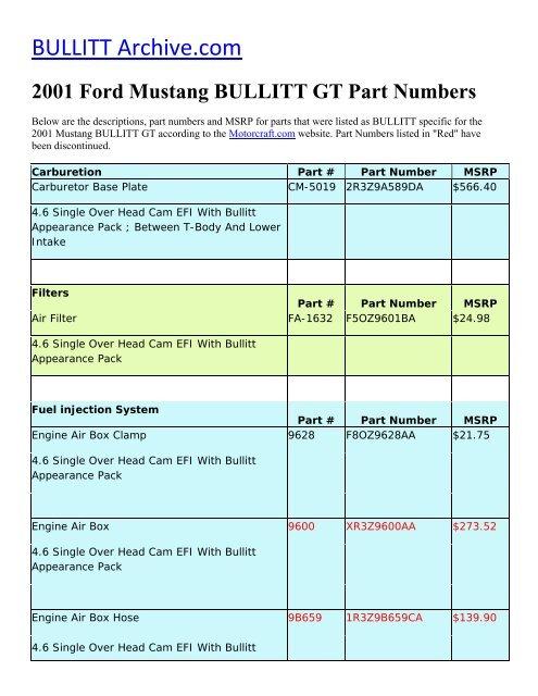 2001 ford mustang bullitt gt part numbers - bullitt archive