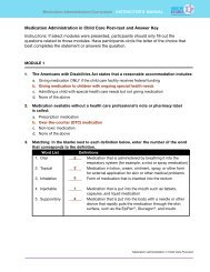 Medication Administration in Child Care Post-test and Answer Key ...