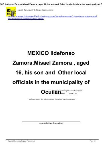 MEXICO Ildefonso Zamora,Misael Zamora , aged 16, his son and ...
