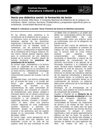 Hacia una didáctica social: la formación de lector - Buenos Aires ...