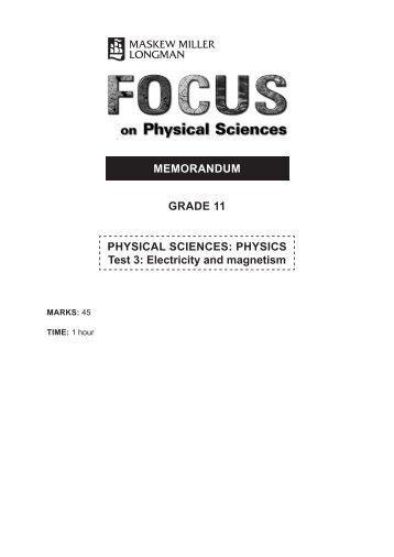 MEMORANDUM GRADE 11 PHYSICAL SCIENCES: PHYSICS Test 3