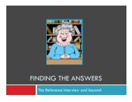 FINDING THE ANSWERS - Steele Memorial Library