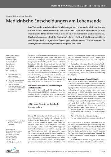 Medizinische Entscheidungen am Lebensende - Felix Gutzwiller