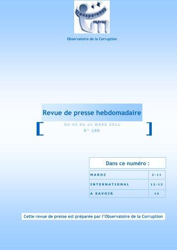 Revue de presse n°150 du 05 au 11 mars - Transparency