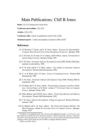 Publications: Cliff B Jones - Computing Science - Newcastle University