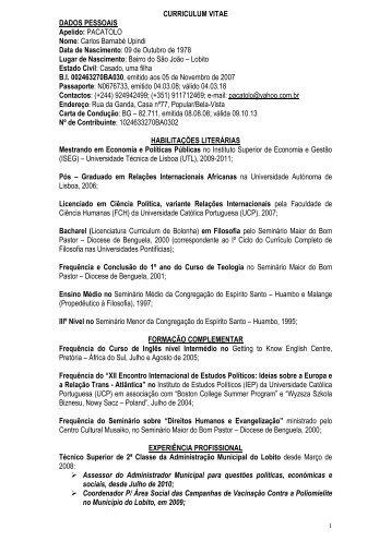 CURRICULUM VITAE DADOS PESSOAIS Apelido: PACATOLO Nome