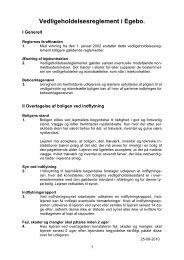 Vedligeholdelsesreglement for afd. 30 Egebo