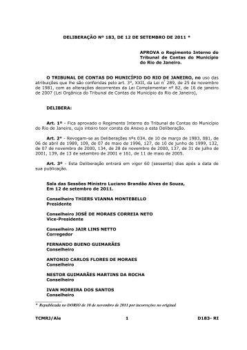Saiba Mais... - Tribunal de Contas do Município do Rio de Janeiro
