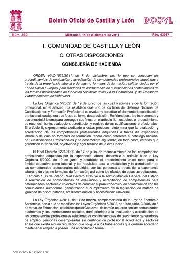 BOCYL n.º 239 Miércoles, 14-diciembre-2011 - Federación de ...