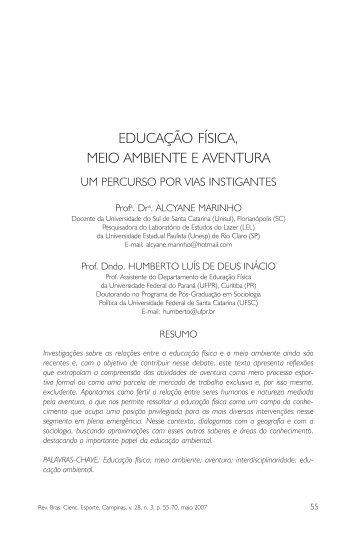 educação física, meio ambiente e aventura - Pós-Graduação em ...