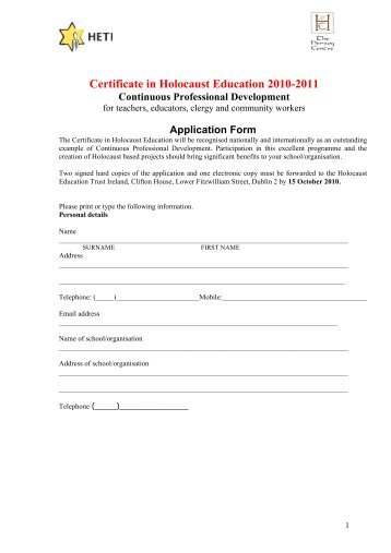 Certificate in Holocaust Education 2010-2011