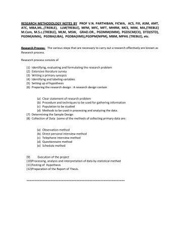 Research Methodology Notes - CII Institute of Logistics