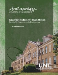 Graduate Student Handbook - UNT Anthropology - University of ...