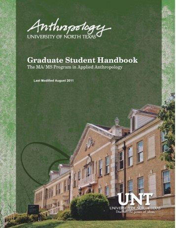 Graduate Student Handbook - UNT Anthropology - University of ...