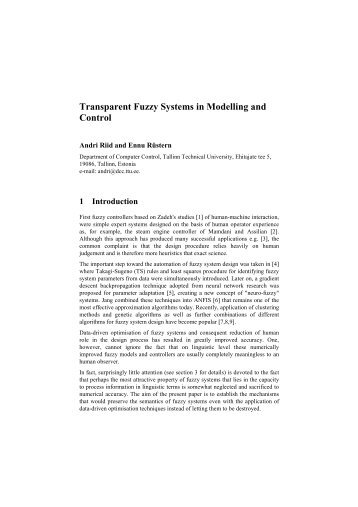 Transparent Fuzzy Systems in Modelling and Control
