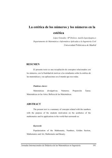 La estética de los números - Universidad Politécnica de Madrid