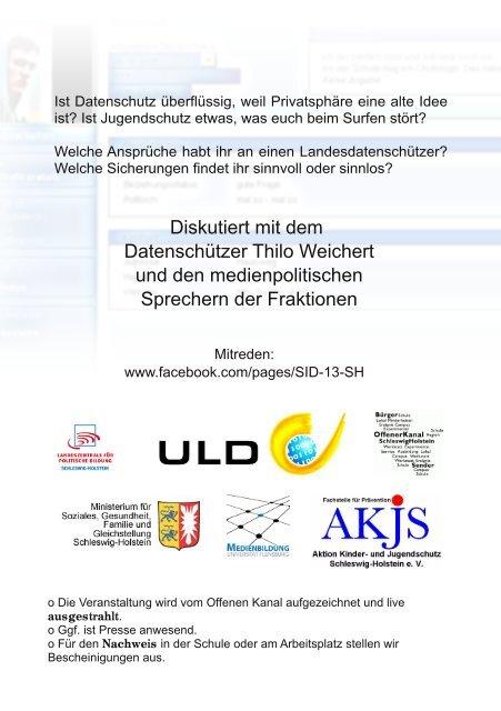 Diskutiert mit dem Datenschützer Thilo Weichert und den ...