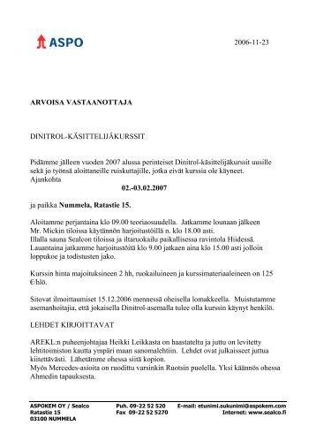 2006-11-23 ARVOISA VASTAANOTTAJA DINITROL ...