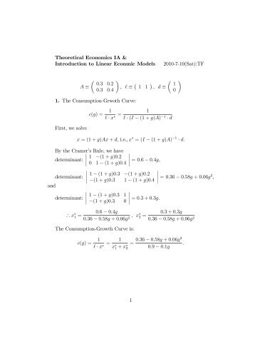 Theoretical Economics IA & Introduction to Linear Econmic Models ...